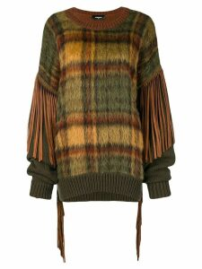 Dsquared2 tassel-trimmed checked jumper - Green
