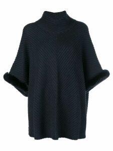 N.Peal fur trim diagonal rib poncho - Grey