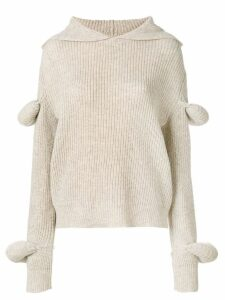 JW Anderson desert rib-knit hoodie with puff sleeves - Brown
