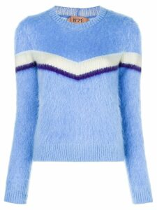 Nº21 striped furry jumper - Blue