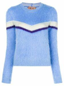 Nº21 striped furry jumper - Blue