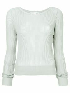 Comme Moi round neck ribbed top - Green