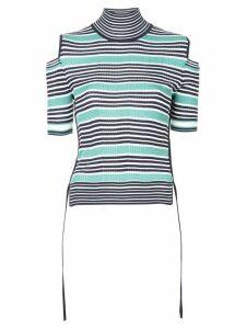 Fendi striped cold shoulder top - Black