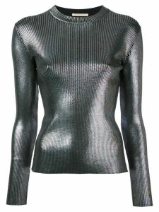Christopher Kane longsleeve rib foil top - Black