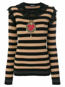 Dolce & Gabbana embellished lace trim pullover - Black