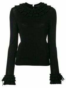 Ermanno Scervino ruffle trim sweater - Black