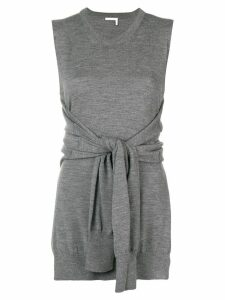 Chloé knot-detail sleeveless knitted top - Grey