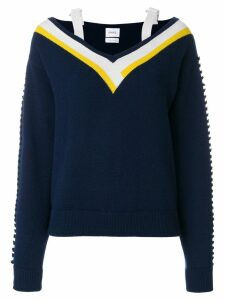 Barrie cashmere V-neck knitted sweater - Blue