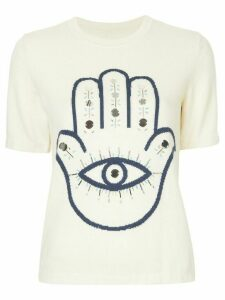 Onefifteen Hamsa embellished knitted top - White