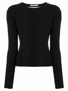 T By Alexander Wang open back long sleeve knit top - Black