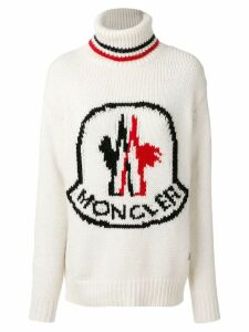 Moncler logo patch roll-neck sweater - White