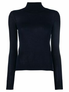 Jacquemus cut detail turtle-neck sweater - Blue