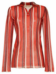 Marni zip detail stripe-knit top - Red