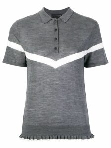 Cashmere In Love ruffle trimming knitted polo shirt - Grey