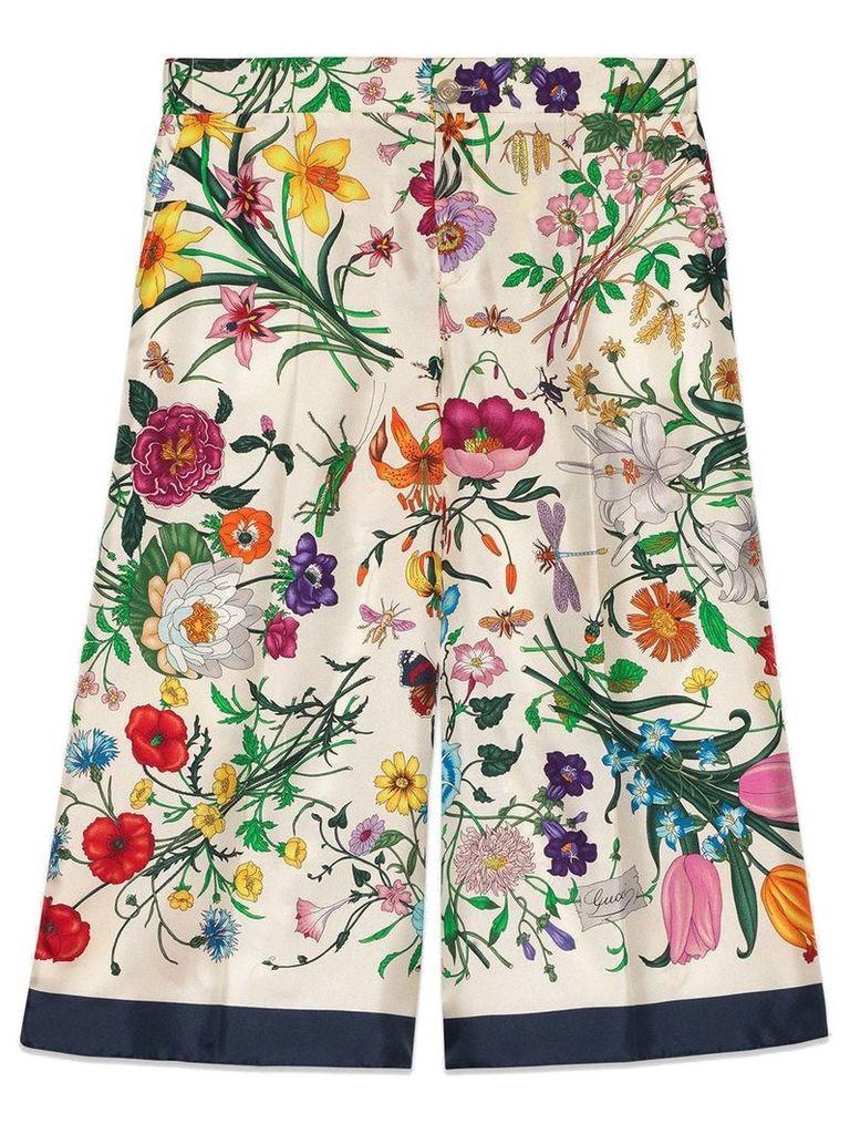 Gucci Flora silk twill pajama pant - White