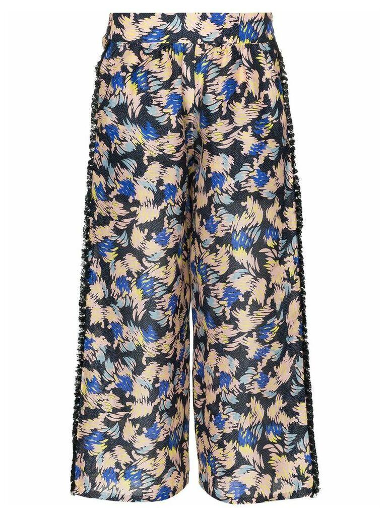 A Peace Treaty Yuna print silk linen-blend cropped trousers -