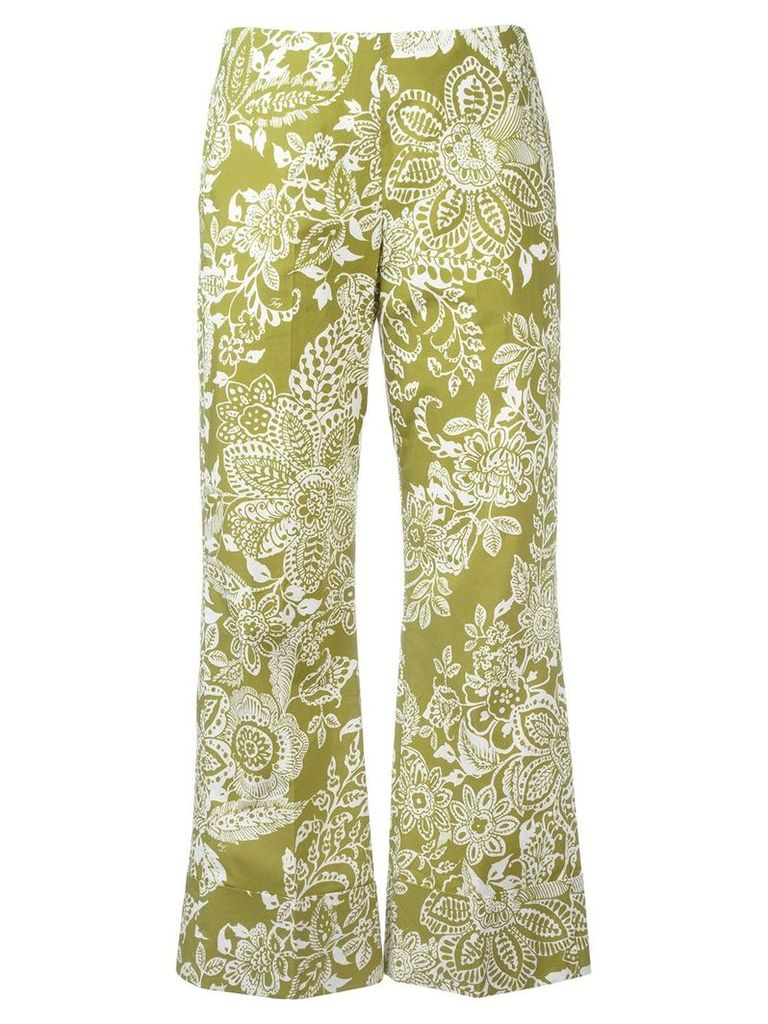 Fay printed cropped trousers - Green
