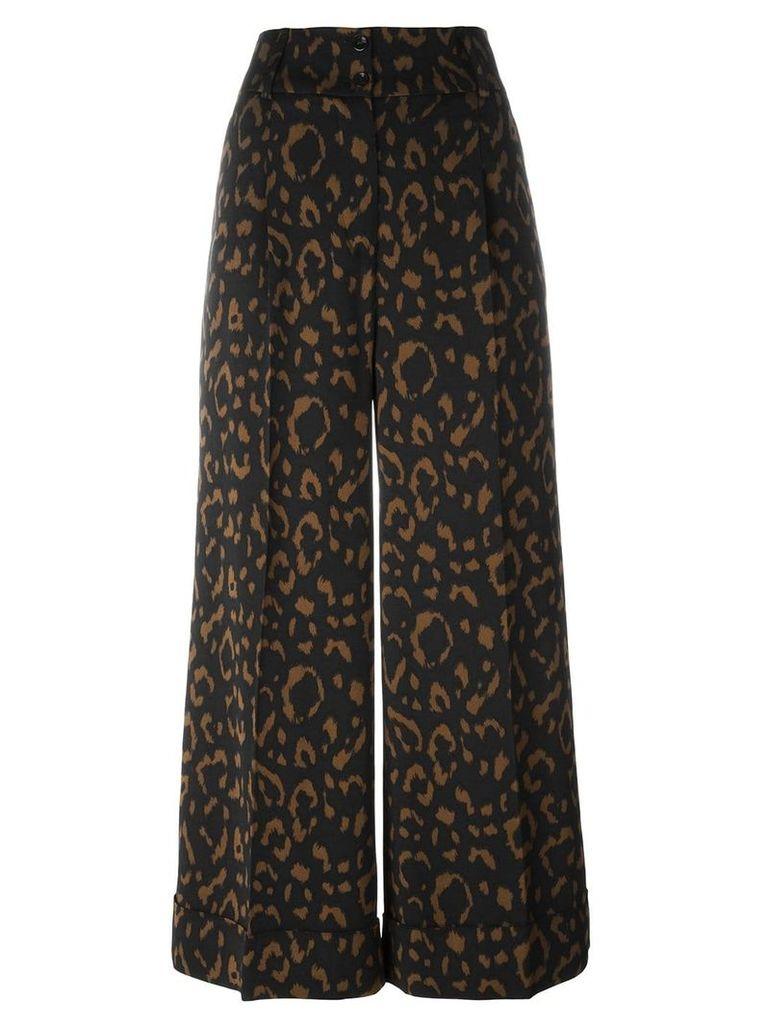 Blumarine jacquard wide leg cropped trousers - Black