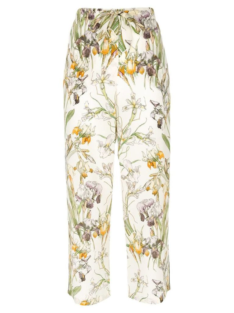 Alexander McQueen embroidered cropped trousers - Multicolour