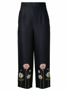 Vilshenko embroidered flower cropped trousers - Black