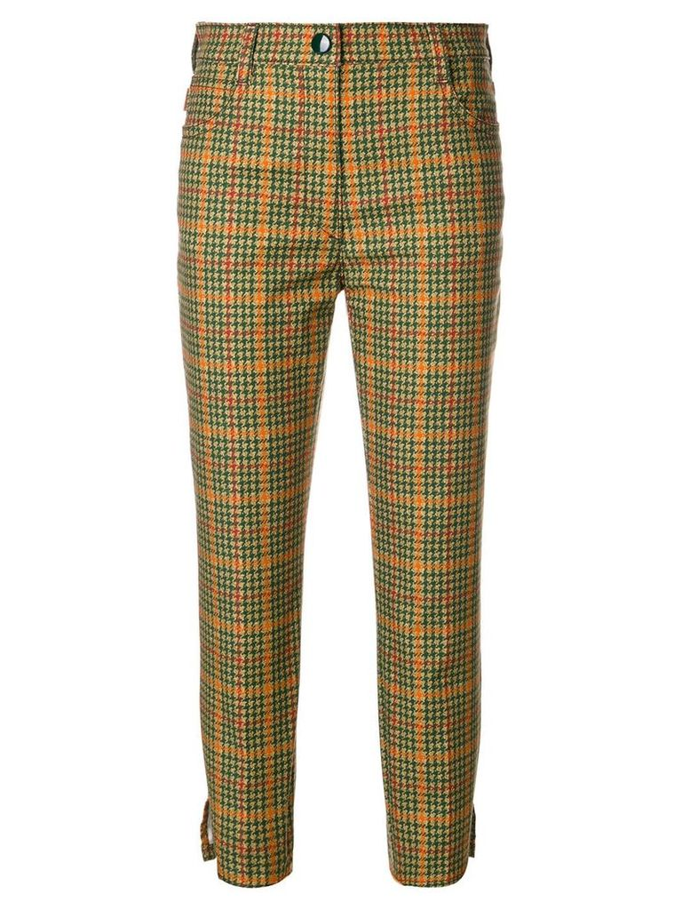 Prada dogtooth cropped trousers - Green