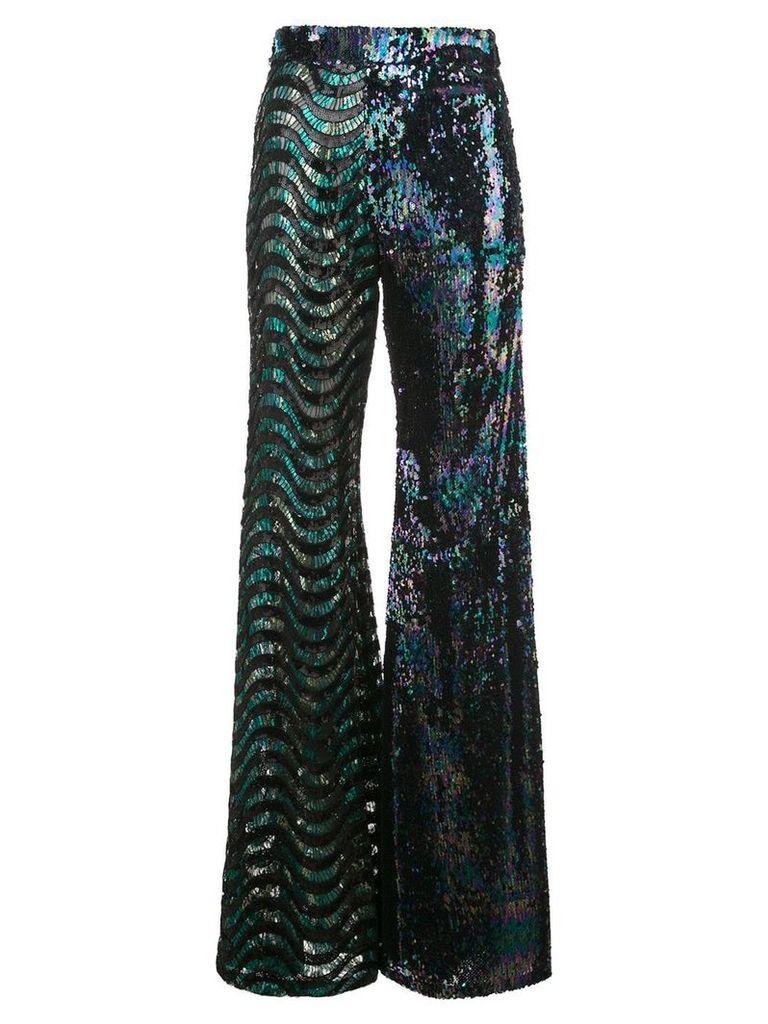 Halpern sequinned flared trousers - Green