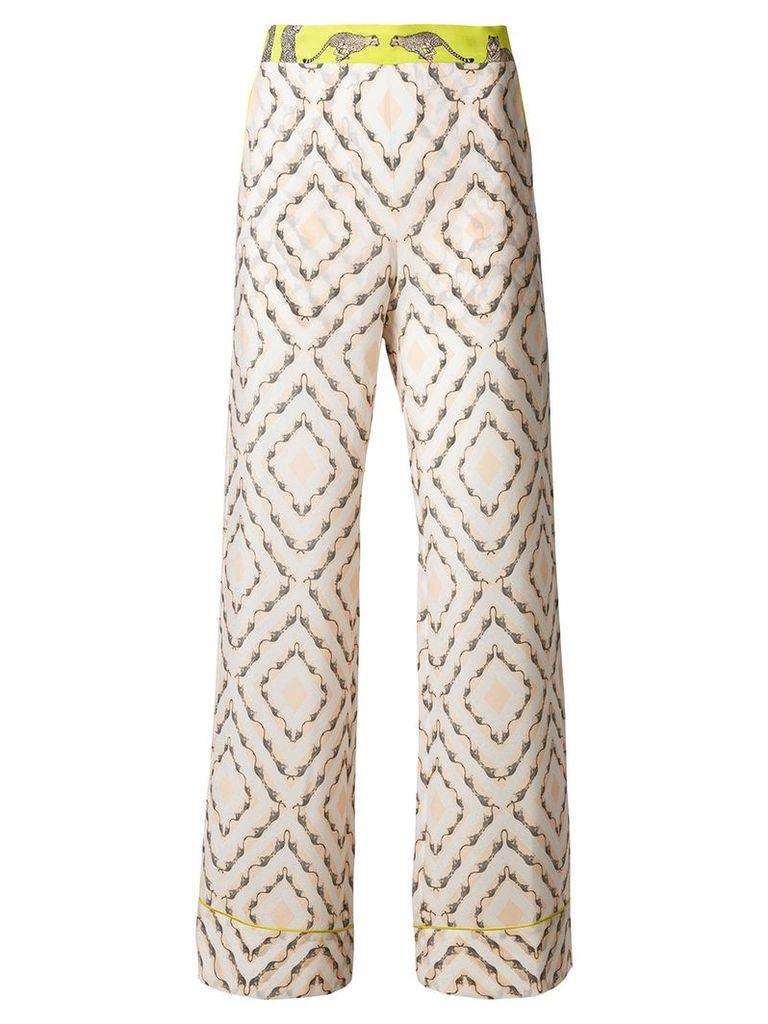 Antonia Zander safari printed flared trousers - Nude & Neutrals