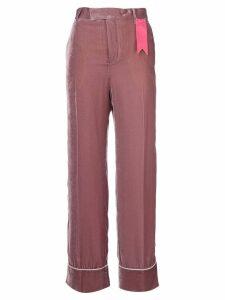 The Gigi contrast applique flared pants - Pink