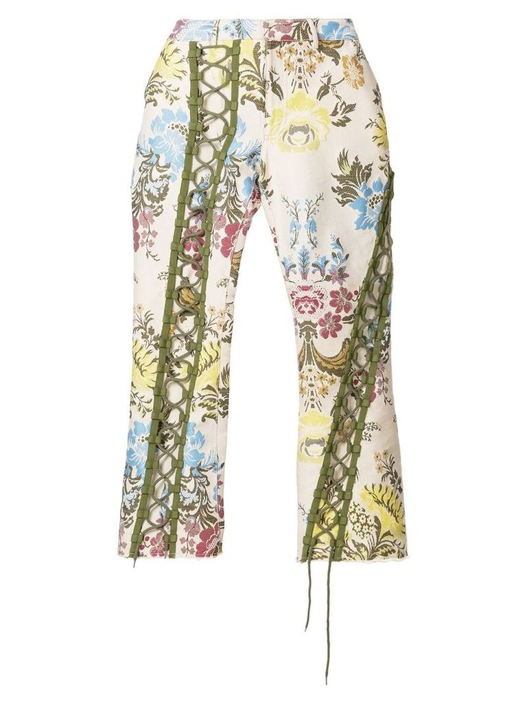 Marques'almeida lace up floral trousers - Multicolour