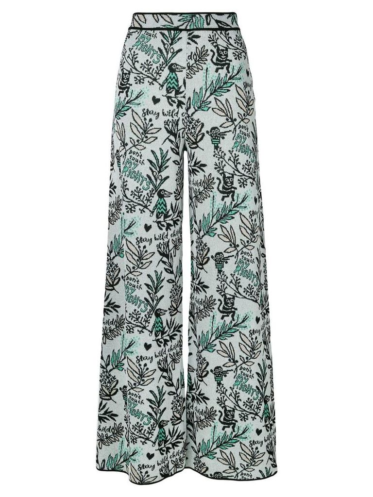 M Missoni floral flared trousers - Blue