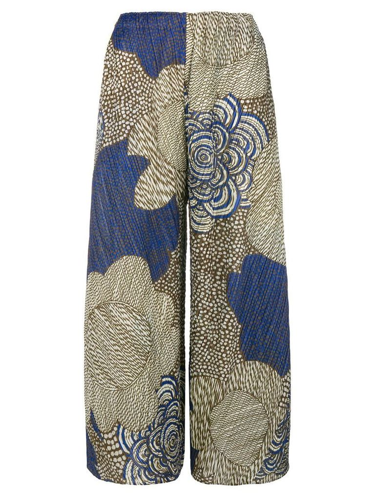 Pleats Please By Issey Miyake floral printed cropped trousers - Nude &
