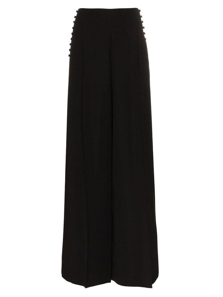 Adeam button detail wide leg trousers - Black