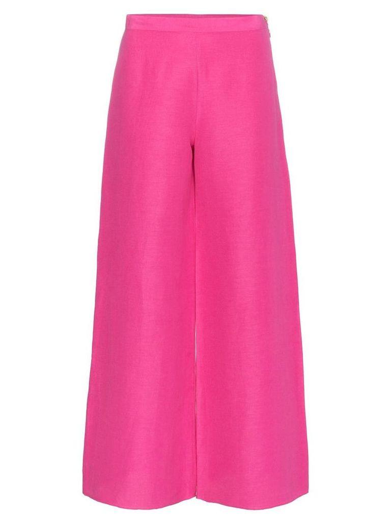 Simon Miller Aliso flared silk linen-blend trousers - Pink & Purple