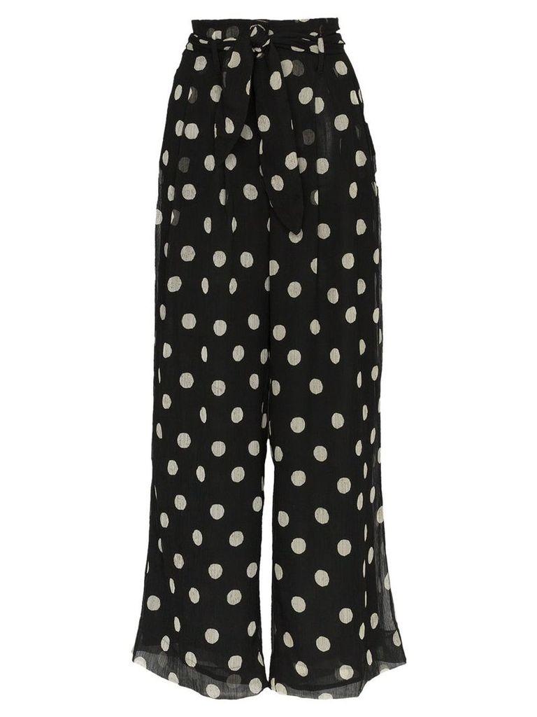 Nanushka Nevada high waisted polka dot wide-leg trousers - Black