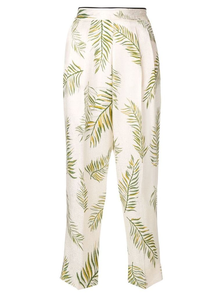Forte Forte feather print trousers - White