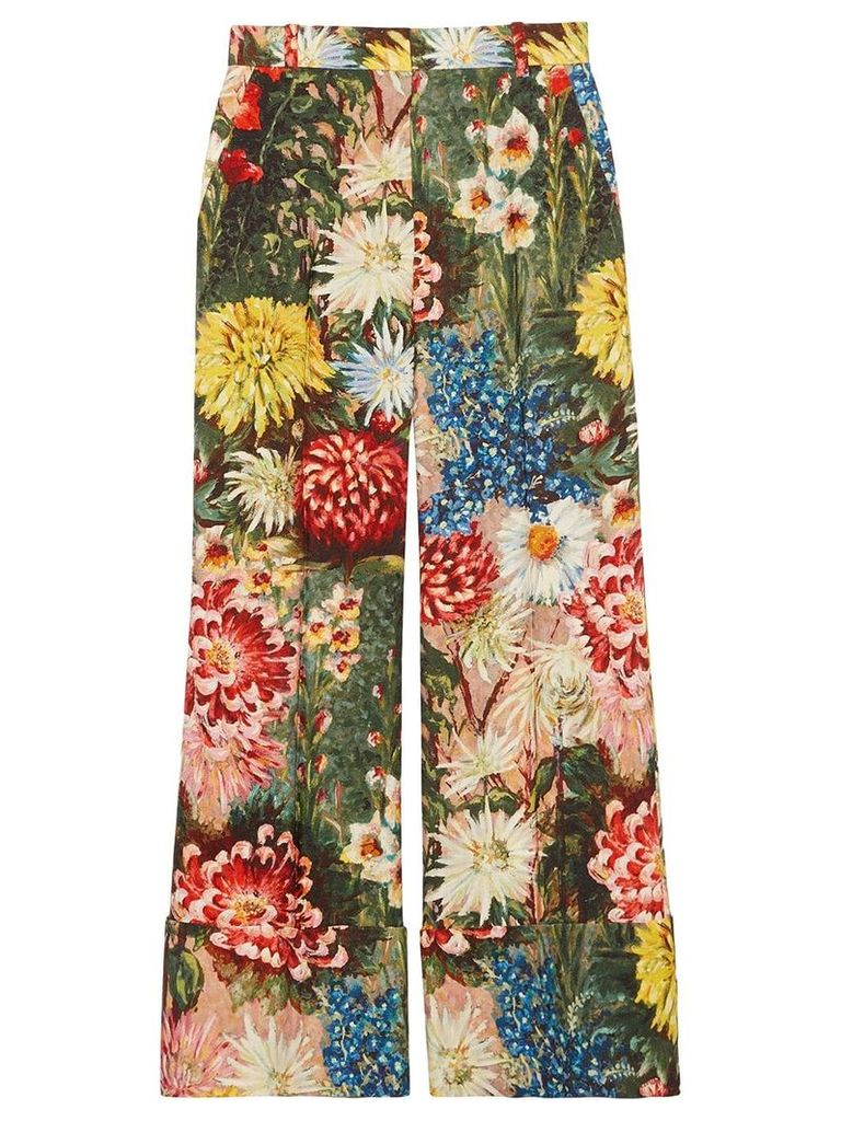 Gucci Impressionist garden wide leg pants - Multicolour