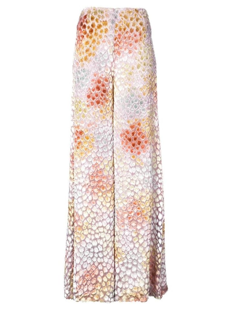 Adam Lippes painted wide-leg trousers - White