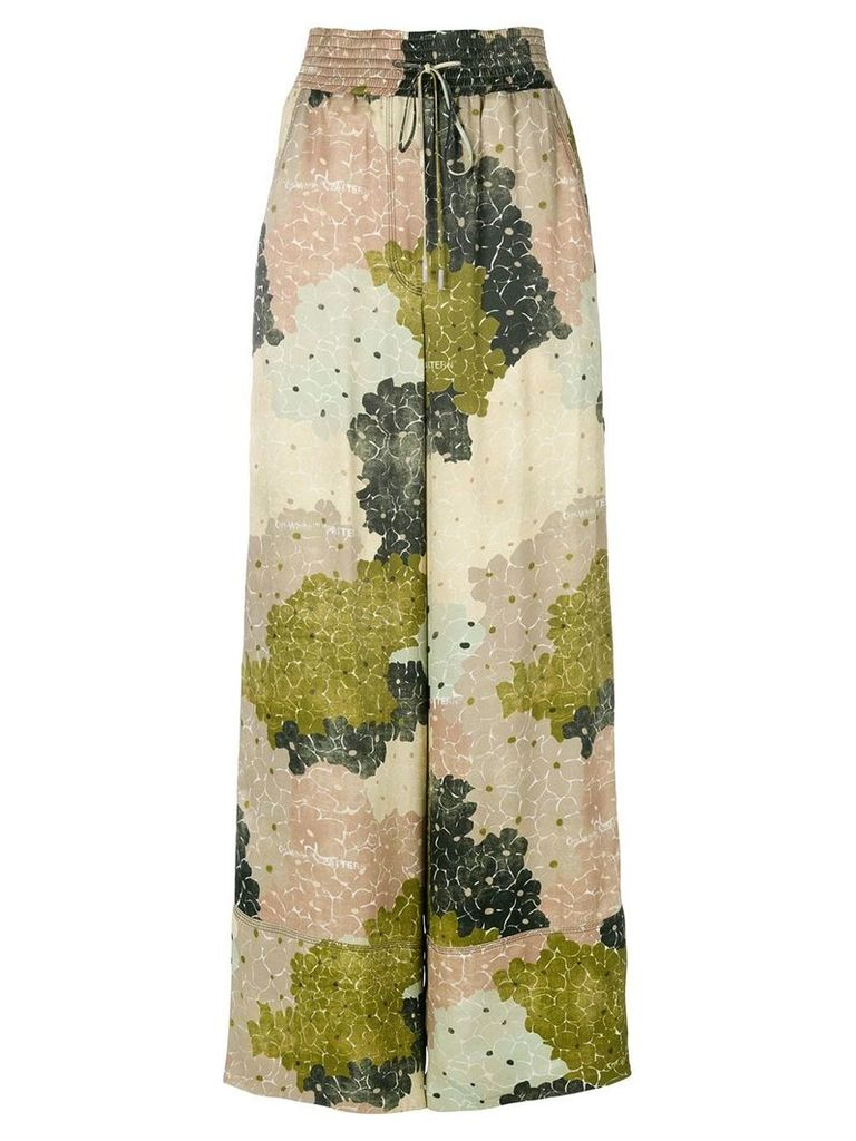 Off-White floral-print wide-leg trousers - Green
