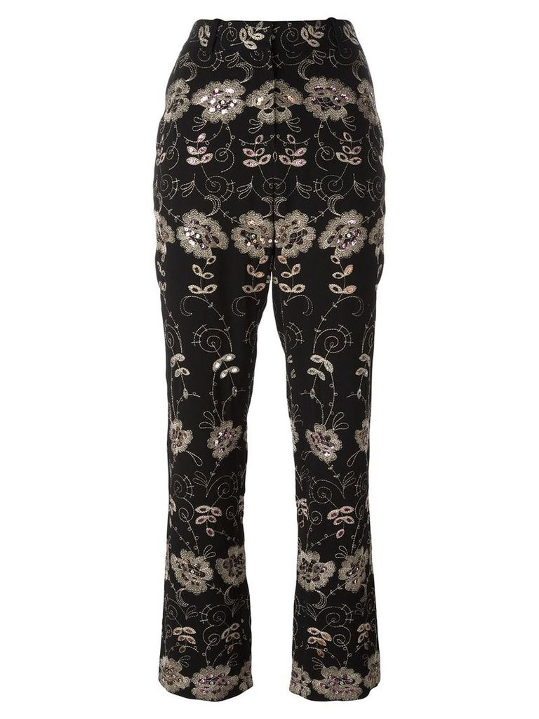 Givenchy floral embroidered trousers - Black