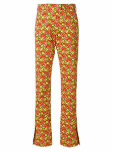 MSGM slim-fit floral print trousers - Yellow