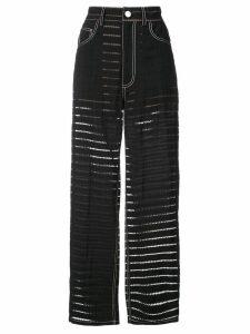 Fleur Du Mal zigzag burnout stripe trousers - Black
