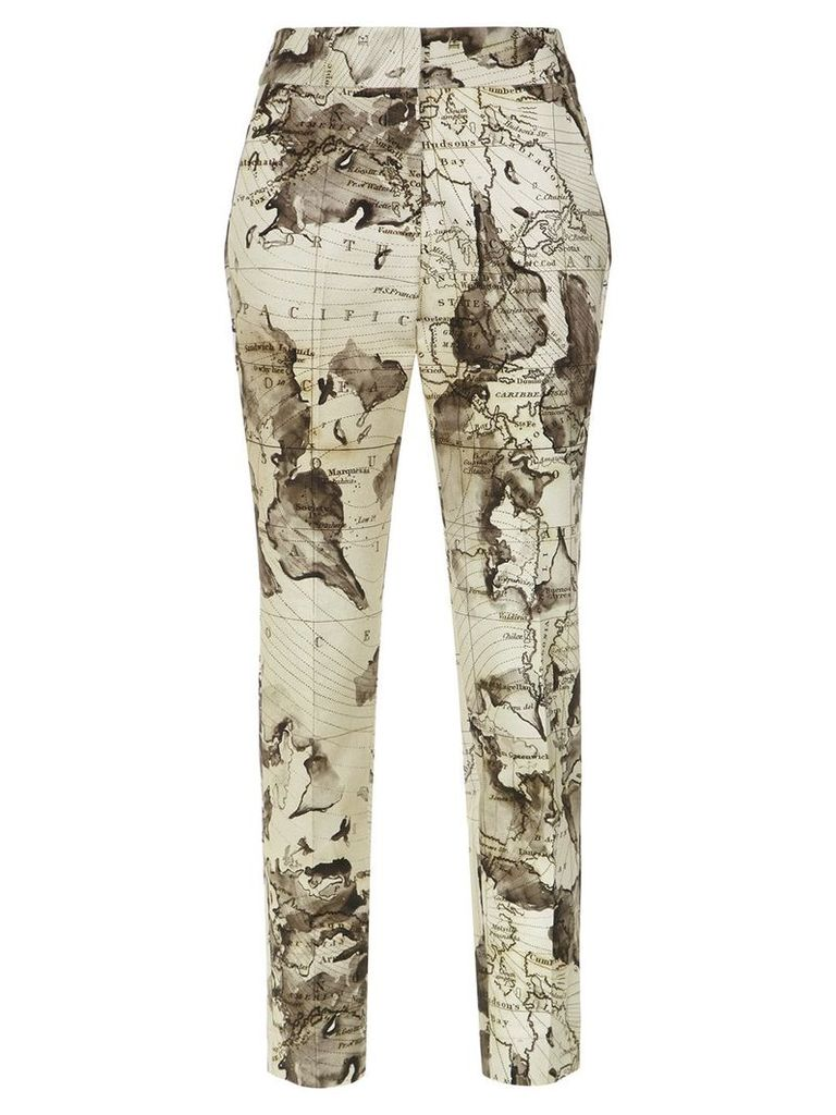 Andrea Marques map print straight trousers - Unavailable