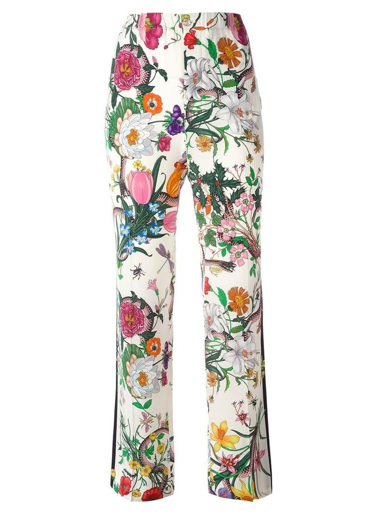 Gucci Flora Snake print trousers - White