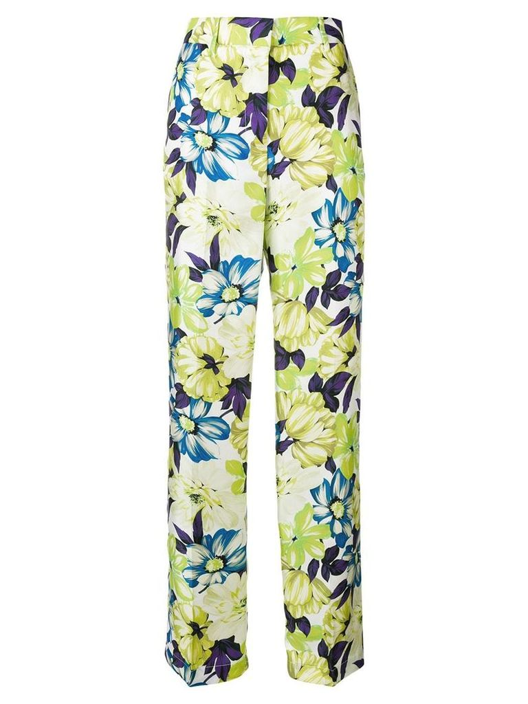 MSGM straight leg floral trousers - Green