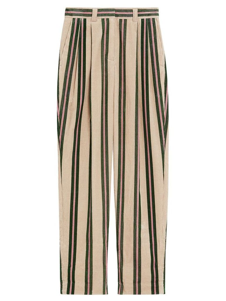 Burberry Roll-up Cuff Striped Corduroy Trousers - Nude & Neutrals
