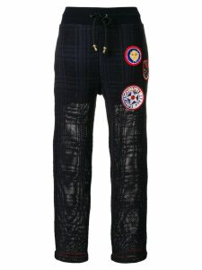 Mr & Mrs Italy patched tartan joggers - Blue