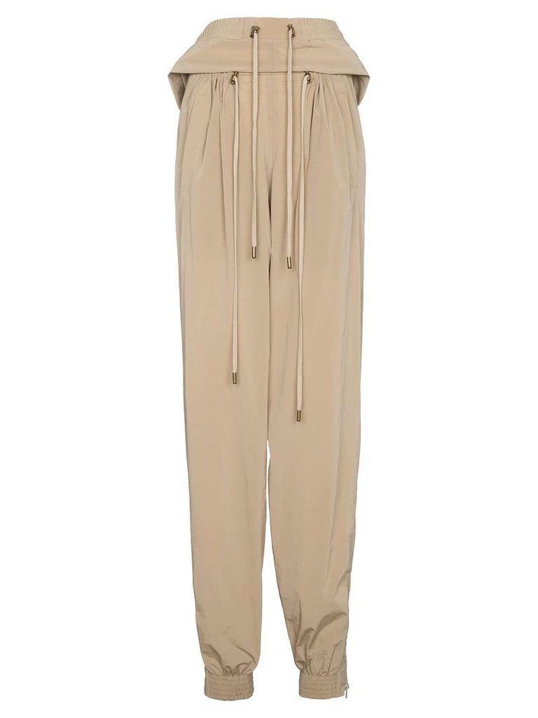 Y / Project Cropped track pants with double drawstring - Nude &