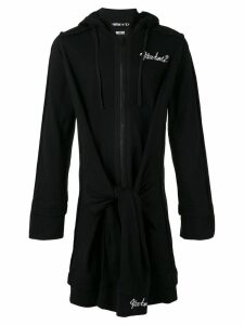 KTZ elongated tie waist hoodie - Black