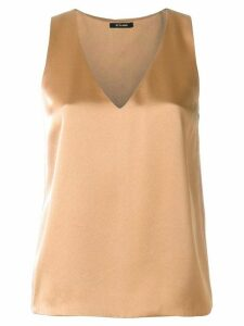 Styland v-neck sleeveless satin shift top - Brown