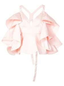 Rosie Assoulin fluted-ruffle cross-back top - PINK